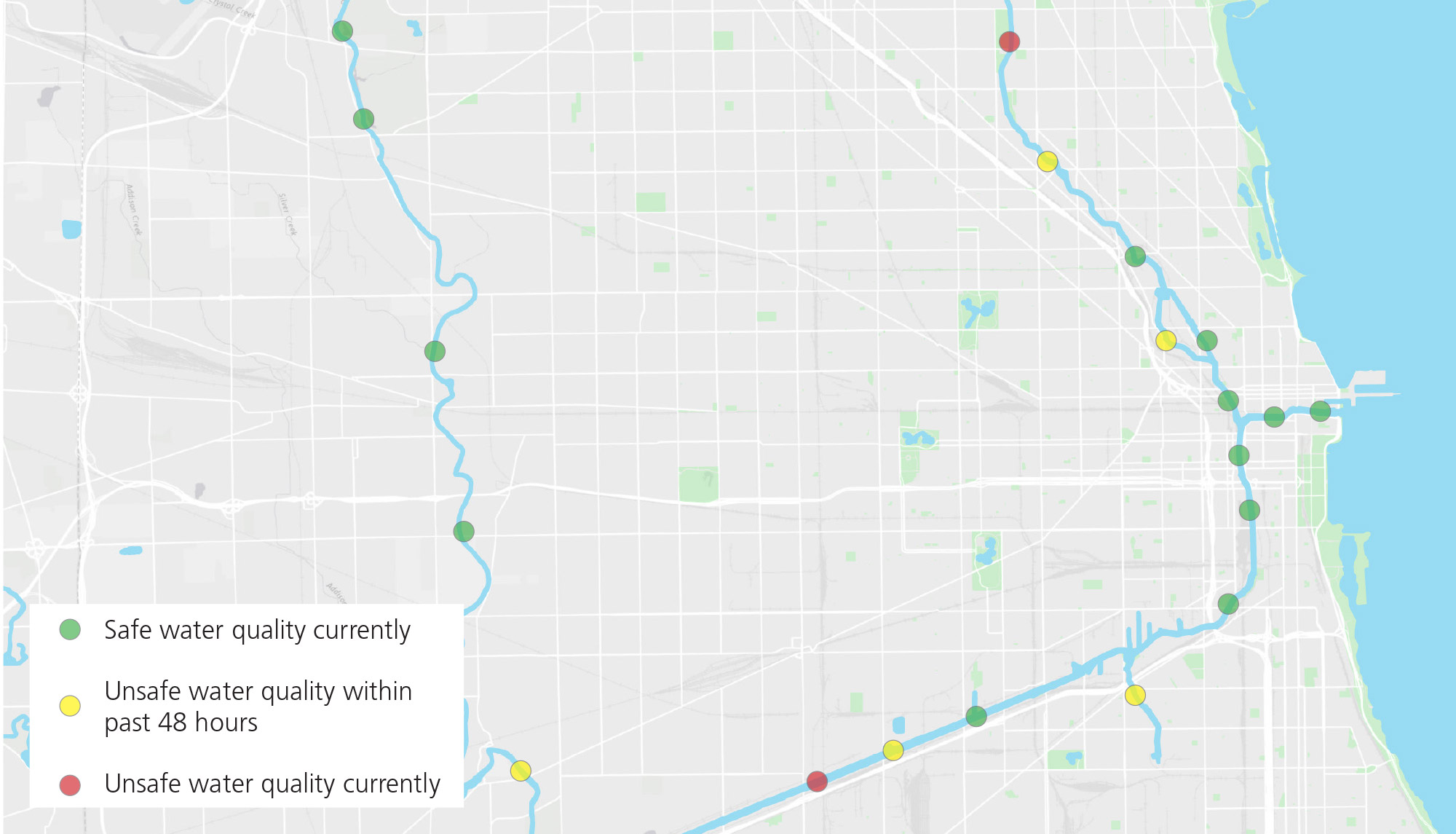Goal Realtime Water Quality Information  Great Rivers - Chicago map river